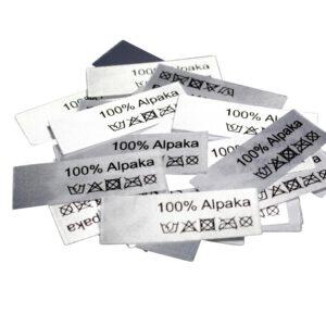 50 Textiletiketten 100% Alpaka