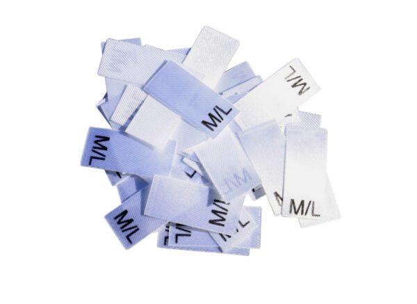 25 Textiletiketten Größe M/L