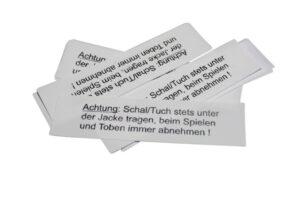 10 Textiletiketten - Warnhinweis für Schals