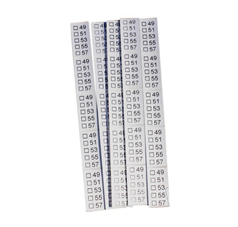 25 selbstklebende Textiletiketten Universal 49-57