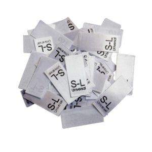 25 Textiletiketten Größe S-L universal
