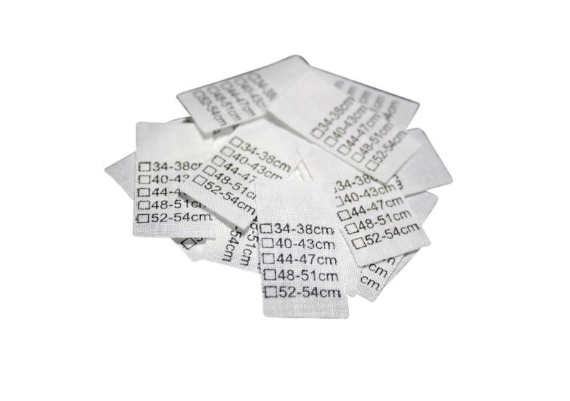 25 Textiletiketten Universal 34-38cm bis 52-54cm