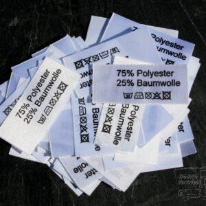 50 Textiletiketten 75% Polyester 25% Baumwolle