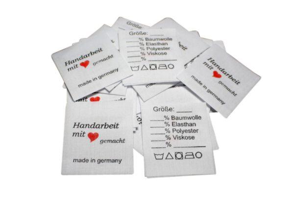 25 Textiletiketten Universal - Handarbeit mit Herz – auf Mischband