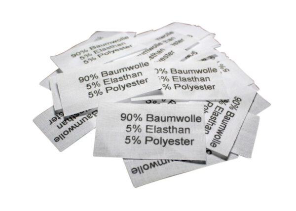 50 Textiletiketten 90% Baumwolle 5% Elasthan 5 % Polyester