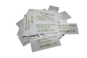 50 Textiletiketten 95% Biobaumwolle 5% Elasthan