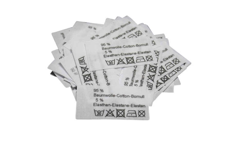 50 Textiletiketten 95% Baumwolle 5% Elasthan in drei Sprachen