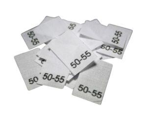 25 Textiletiketten für Mützen - KU 50-55cm