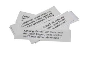 10 Textiletiketten - Warnhinweise für Schals!