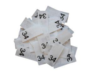 25 Textiletiketten - Größe 34 auf Mischband
