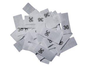 25 Textiletiketten - Größe 36 auf Mischband