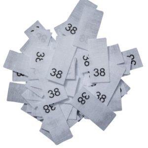 25 Textiletiketten - Größe 38 auf Mischband