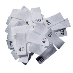 25 Textiletiketten - Größe 40 auf Mischband