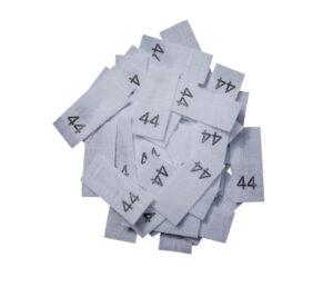 25 Textiletiketten - Größe 44 auf Mischband