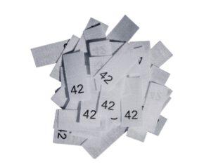 25 Textiletiketten - Größe 42 auf Mischband