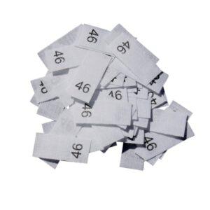 25 Textiletiketten - Größe 46 auf Mischband