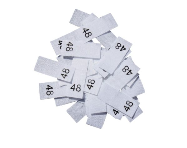 25 Textiletiketten - Größe 48 auf Mischband