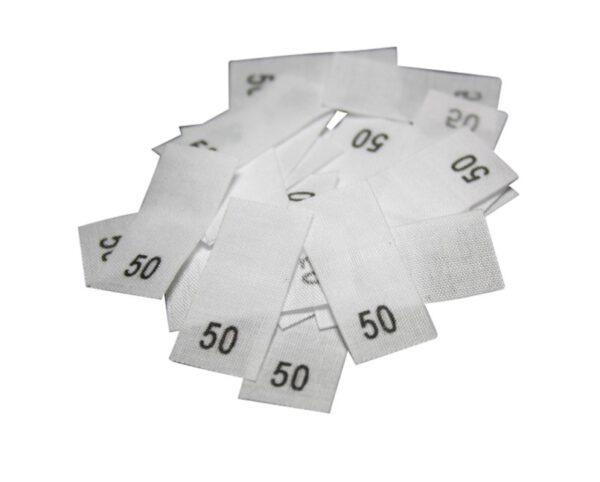 25 Textiletiketten - Größe 50 auf Mischband