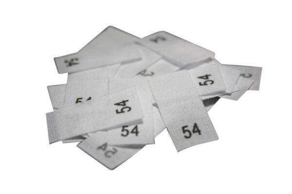25 Textiletiketten - Größe 54 auf Mischband