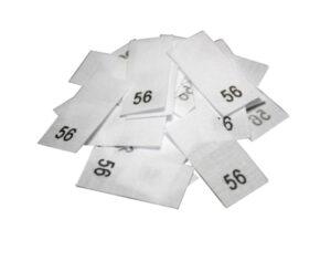 25 Textiletiketten - Größe 56 auf Mischband
