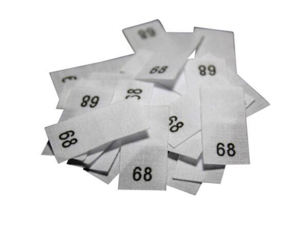 25 Textiletiketten - Größe 68 auf Mischband
