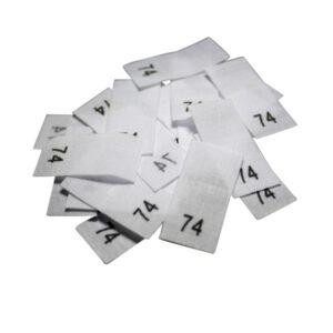 25 Textiletiketten - Größe 74 auf Mischband