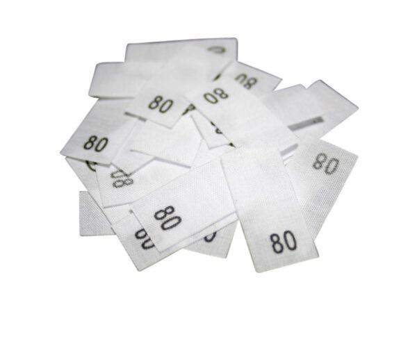 25 Textiletiketten - Größe 80 auf Mischband
