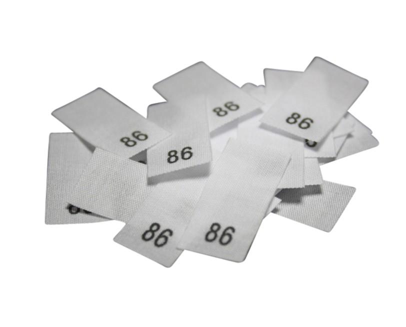 25 Textiletiketten - Größe 86 auf Mischband
