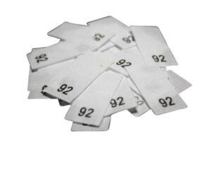 25 Textiletiketten - Größe 92 auf Mischband