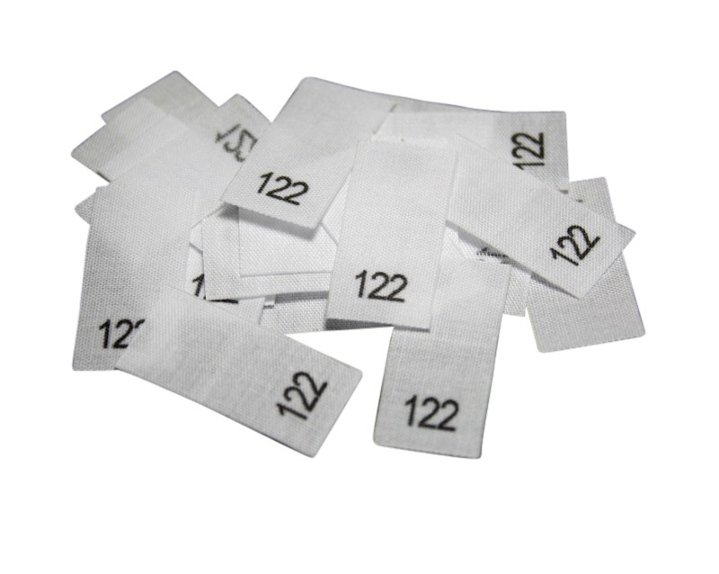 25 Textiletiketten - Größe 122 auf Mischband