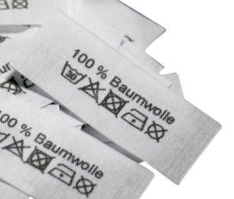 100% Baumwolle mit Pflegesymbole