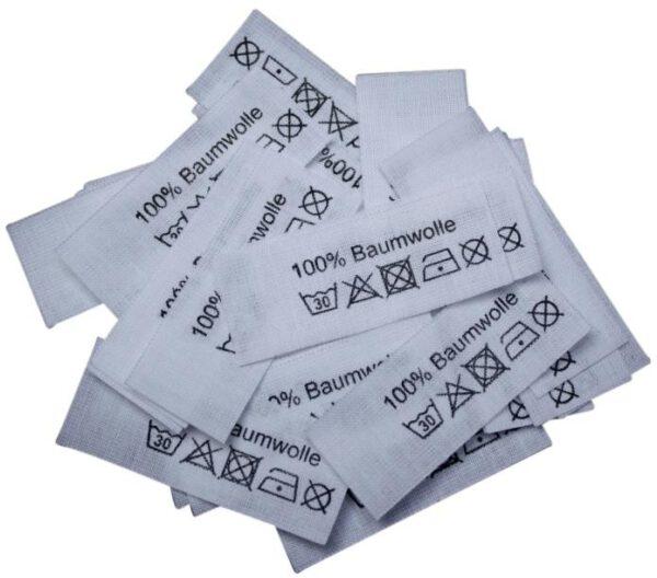 50 Textiletiketten 100% Baumwolle