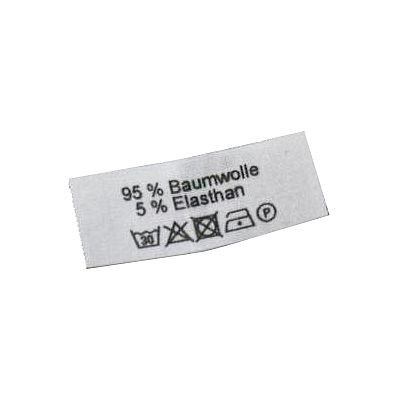 95% Baumwolle, 5% Elasthan + Pflegesymbole