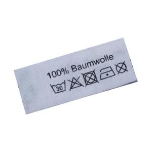 100% Baumwolle mit Pflegesymbole auf Mischband gedruckt