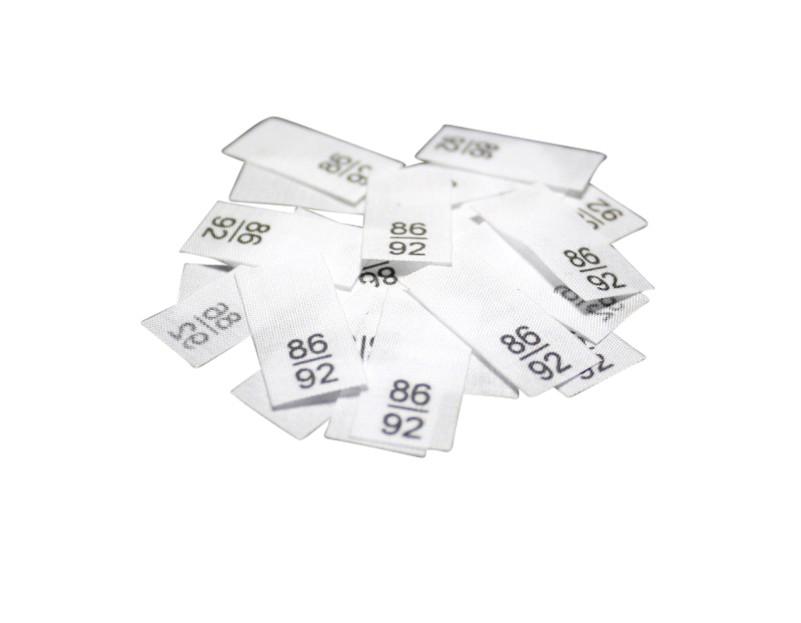 25 Textiletiketten - Größe 86/92 auf Mischband