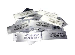 Textiletiketten mit Text 100% Leinen