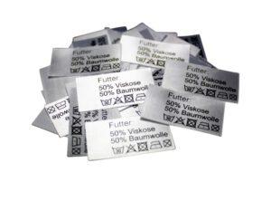 50 Textiletiketten Futter: 50% Viskose 50%Baumwolle
