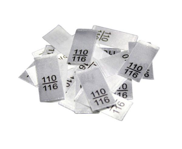 25 Textiletiketten - Größe 110/116