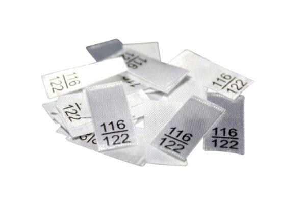 25 Textiletiketten - Größe 116/122