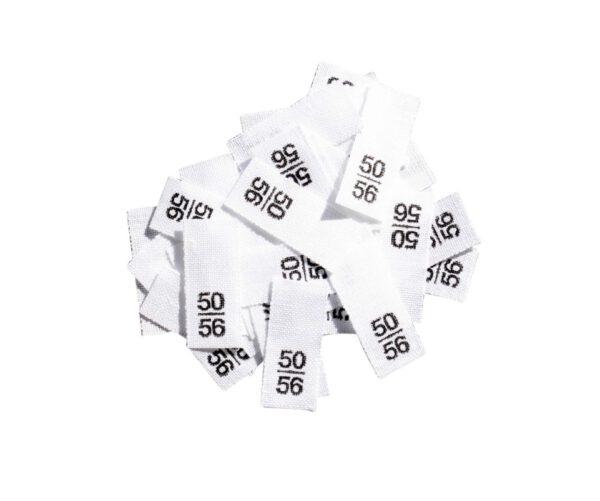25 Textiletiketten - Größe 50/56 auf Mischband