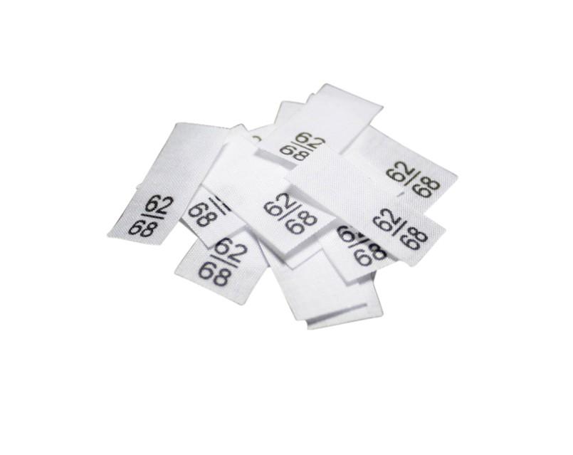 25 Textiletiketten - Größe 62/68 auf Mischband