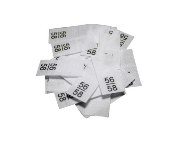 25 Textiletiketten - Größe 56/58 auf Mischband