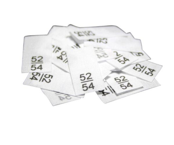 25 Textiletiketten - Größe 52/54 auf Mischband