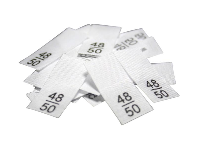 25 Textiletiketten - Größe 48/50 auf Mischband