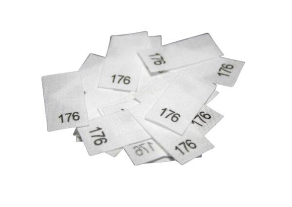 25 Textiletiketten - Größe 176 auf Mischband