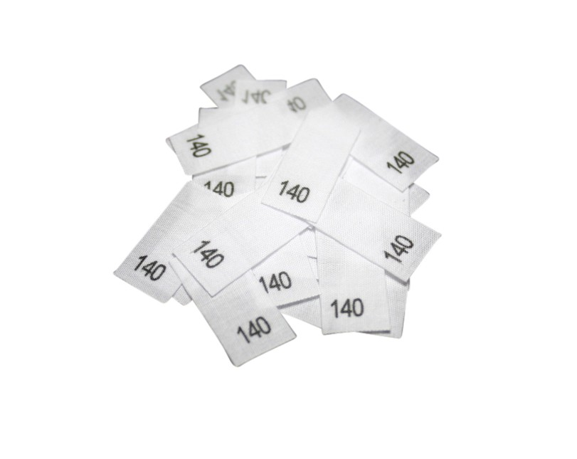 25 Textiletiketten - Größe 140 auf Mischband