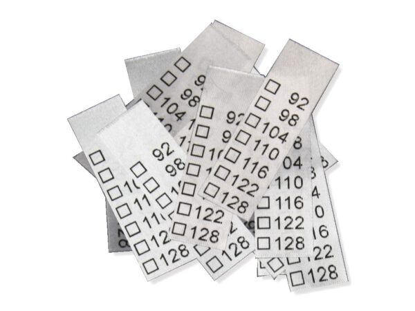 "25 Textiletiketten Universal Kindergrößen 92-128"""