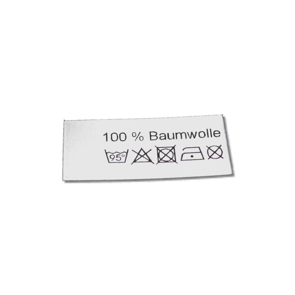 100% Baumwolle mit 95° Waschsymbol auf Polyestersatinband gedruckt