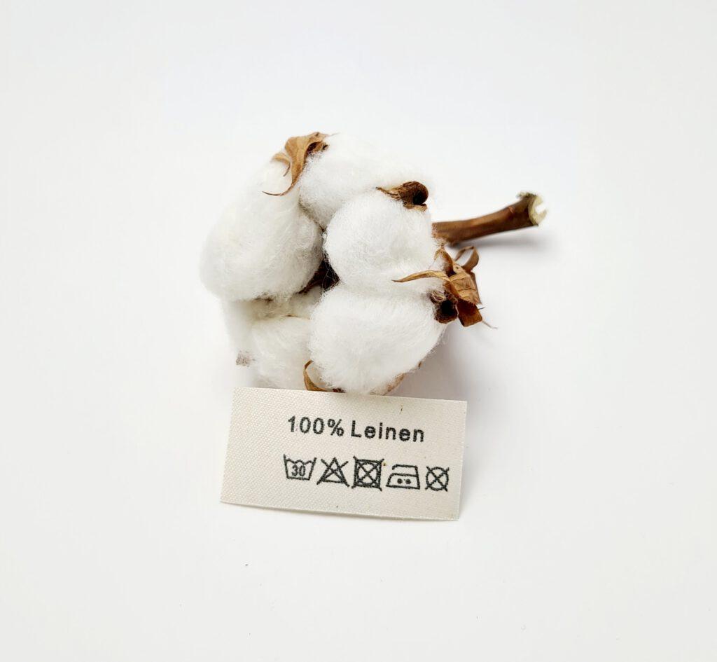 Textiletiketten aus Naturbaumwollband