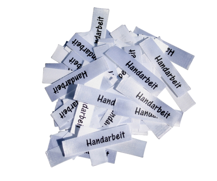Etiketten, Textile zum Einnähen Aufkleben, selbstklebend ohne Pflegesymbole.